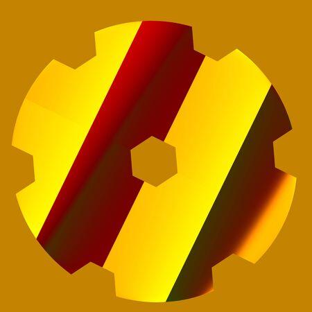 Abstract Shiny Gear Shape - Mechanical - Metallic Reflections