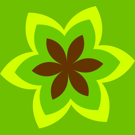 Simple Abstract Green Flower -  Tattoo - Floral Shape photo