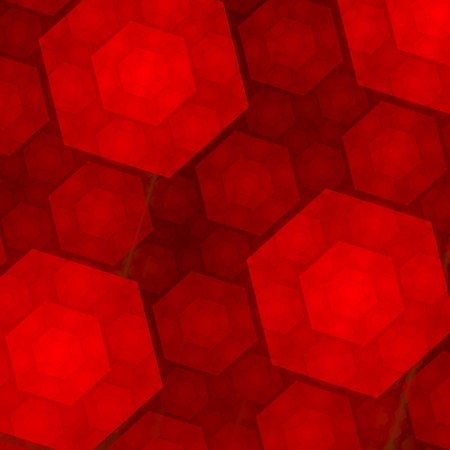 Elegant Abstract Red Hexagons Background - Fractal - Different Sizes photo