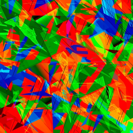 Abstract Shattered Colorful Digital Crystal - Irregular - Mess - Chaotic Art photo
