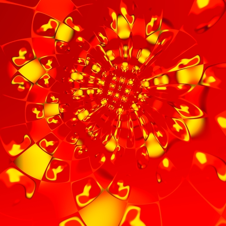 Abstract Digital Yellow Red Fractal Art Background