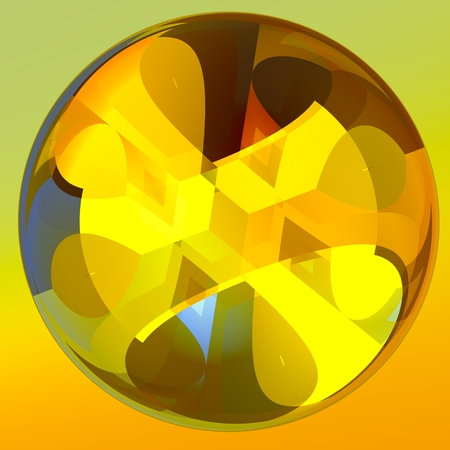 face centered: Isolated Abstract Glass Crystal Ball