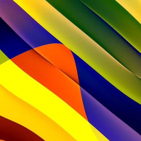 Abstract Colorful Paper Shredder Stripes Background - Green Orange Blue Striped 3D Diagonal Pattern - Creative Fantasy Picture Design - Colored Digital Strips Art Illustration - Virtual Curling Lines illustration
