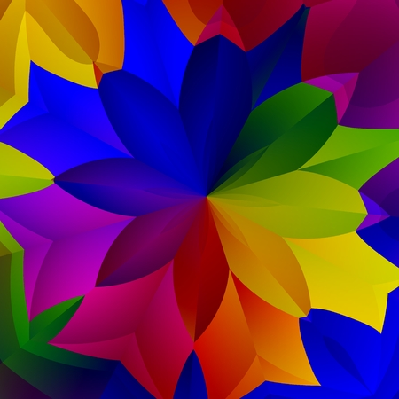 Abstract Colorful Spring Flower Plant Art Illustration - Creative Floral Fresh Fantasy Plant - Red Green Yellow Blue Purple Colors - Decorative Exotic Background Design - Vividly Colored Petals Stock Photo