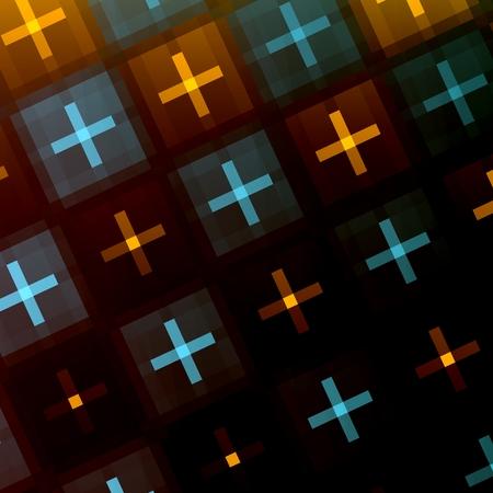 Abstract Dark Black Orange Blue Plus Sign Background - Flat Positive Signs Art Illustration - Unique Seamless Pattern - Surface Texture Design - Diagonal Fantasy Cross Pattern - Stylish Postcard