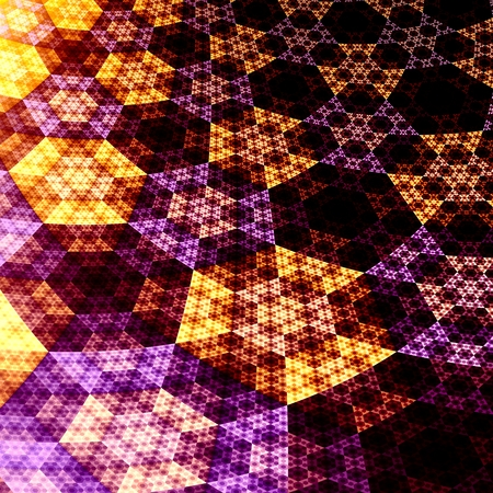 Digital Abstract Fractal Hexagons 3D Plane Background - Creative Flat Shiny Grids - Futuristic Funky Fantasy Art Illustration - Orange Purple Black Light - Visual Science Fiction Art Illustration - illustration