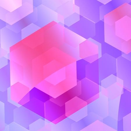 oneness: Abstract Purple Blue Overlapping Hexagons Background - Creative Virtual Hexagonal Pattern - Big Shiny Hexagon - Stylish Artistic Diamonds - Bright Digital Illustration - Reflective Fantasy Texture Stock Photo