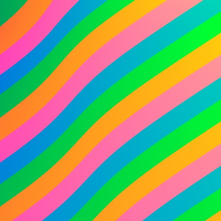 Abstract Wavy Colorful Rainbow Stripes Simple Background - Bright Orange Blue Pink Green Colored Artistic Design - Diagonal Striped Pastel Pattern - Flat Decorative Layered Lines Art Illustration - Stock Photo