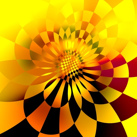Abstract Digital Sunflower Fractal Background - Orange 3D Space Grids - Creative Psychedelic Fantasy Art Illustration - Unique Glowing Geometry Abstraction - Yellow Visual Ornate Pattern Stock Photo