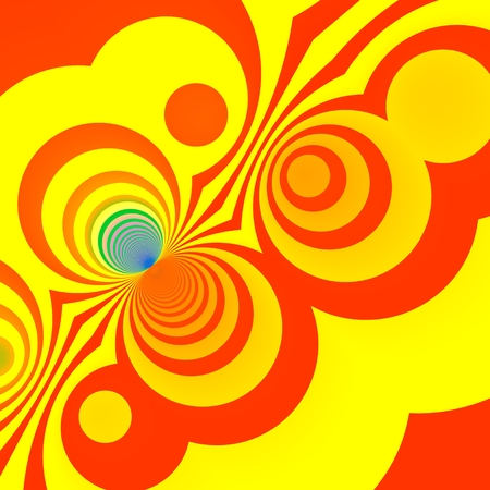 Yellow Creative Abstract Art Background - Funny Illustrated Design - Fantasy Loop Clipart - Cartoony Color Circles Or Rings - Orange Looking Rings - Blue Anomaly - Stylish Graphic Arts Stock Photo