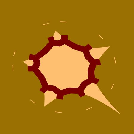 flyaway: Abstract Apocalyptic Background - Falling Asteroid or Meteorite - Armageddon Sign - Shape Isolated on Khaki - Illustration Graphic Design - Disaster Concept - Doomsday Catastrophe - Spiky Rock - End Collision - Comet Approaches - Science Icon -