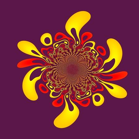 Paint Splash Isolated on Purple - Abstract Floral Background - Ink Splat Design - Red Yellow Fractal Flower - Rendered Illustration - Artistic Element - Blob Spatter - Color Splashes Fractal - Generative Art - Psychedelic Splashing Spots - Kaleidoscopic