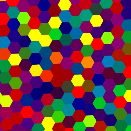 cartoony: Colorful Abstract Background with Geometric Shapes - Hexagon Shaped Dots Pattern - Graphic Design - Tileable Texture - Red Green Blue Color Palette - Honeycomb Structure - Repeating Tiles - Repetitive Illustration - Hexagonal Cells Randomly Colored - Stock Photo
