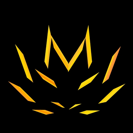 Flame Isolated on Black Background - Blazing Bonfire At Night - Malcolored Hemp or Marijuana Leaf - Yellow Fire Flames - Abstract Apocalyptic Burning - Graphic Design Element - Campfire Illustration - Cannabis Sign - Inferno - Firewall Icon - Flower Shape