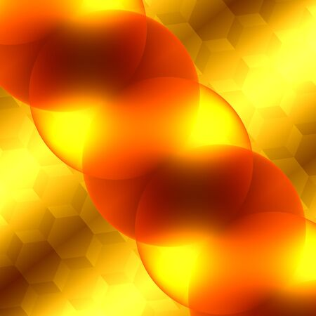 hexagonal shaped: Soft Abstract Background for Design Artworks - Glowing Light Effect - Bright Orange and Yellow Transparent Glass Spheres - Surreal Artistic Illuminated Backdrop - Graphic Illustration - Optical Microscope View - Cell Mitosis - Peculiar Elements - Extreme Stock Photo