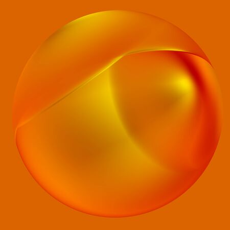 Shiny Jewellery Accessories - Pearl Necklace Isolated - Abstract Orange Background for Design Artworks - Surrealistic Object in Decorative Gold - Precious Jewelry - Earring Jewelery - Illustration Graphic - Glass Sphere - Golden Ball - Glossy Round Stock Photo
