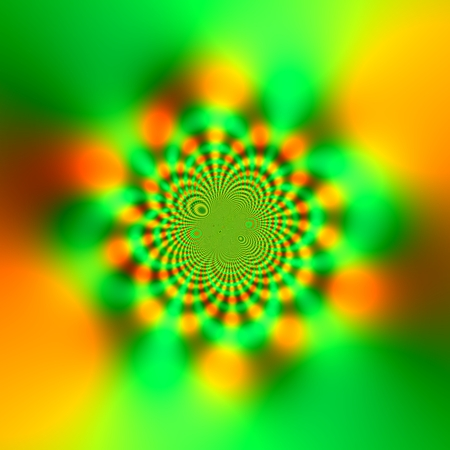 Abstract Science Fiction Futuristic Background - Glowing Yellow and Green - Sparkling Light Effect - Kaleidoscopic Mandala Design - Atypical Artwork Fractal - Deep Subconscious Trance - Hypnotic Vortex - Artistic Sci Fi Graphic Illustration - Color Stock Photo