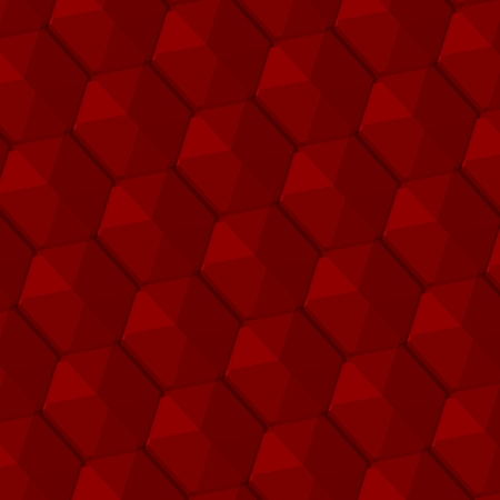 Abstract Geometric Seamless Pattern - Red Textured Background - Regular Hexagonal 3d Retro Tiles Effect - Honeycomb Texture Design Element - Surface Close Up - Graphic Illustration - Shadowed Hexagons - Repeated Shape - Strange Hexagon Mesh Structure - illustration