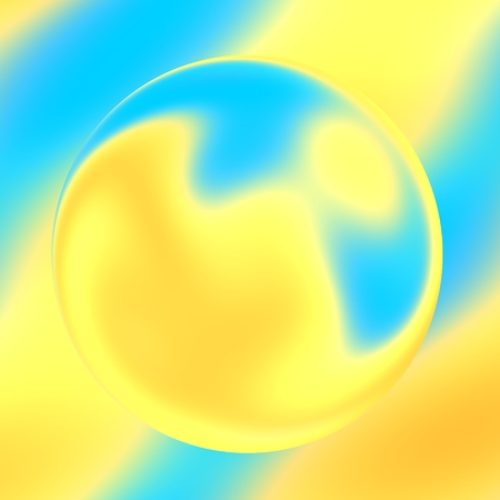 Transparent Drop of Water on Turquoise Blue Yellow Soft Background - Soapy Bubble Image - Abstract for Design Artworks - Glass Ball with Distortion Effect - Bijouterie - Illuminated Bright Lens Close-up - Optical Art - Surreal Illustration - Droplet Pearl