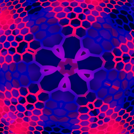 hexagonal shaped: Blue Abstract Background with Geometric Shapes - Meshed Pattern - Star Shaped - For Design Artworks - Honeycomb Structure - Purple Concentric Hexagon Mesh - Repetitive Illustration - Psychedelic Art - Artistic Designs - Hexagonal Cells - Meshy -