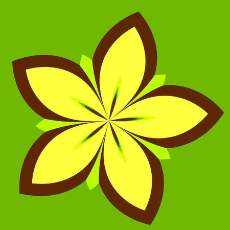 Abstract Floral Background - Yellow Concentric Daisy Flower Plant Isolated on Green Color - Petal Shape Design - Star Fruit - Blooming Lotus - Outlined Illustration of Spring Blossom - Symmetrical Graphic Elements - Nature Concept - Icon Designs - illustration