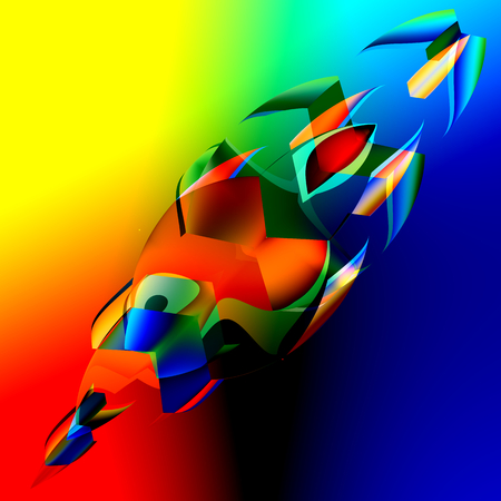 irregular shapes: Interesante Colorful Abstract 3D Peces - Ilustraci�n Art - Imagen generada digitalmente de Azul Naranja formas irregulares - Fondo futurista - Chaotic Rojo Amarillo Verde Gr�fico Digital - Strange locos �nicos Dise�o obras - Efecto decorativo Foto de archivo