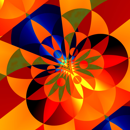 Geometric Background for Design Artworks - Colorful Abstract Illustration - Creative Art - Colored Circles - Ornate Flower Like Decoration - Decorative Composition - Different Shapes and Colors - Mosaic Backgrounds - Geometrical Digital Image Stock Photo