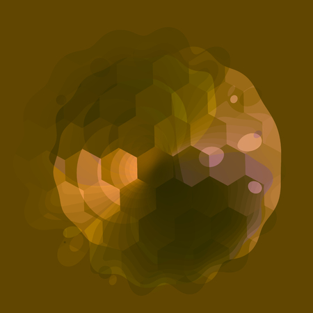 Abstract Transparent Golf Ball on Green Background - Semitransparent Hexagon Texture - Wet Effect - Polygonal 3d Sphere - Artistic Fantasy Image - Stylized Illustration - Creative Art Element - Unique Geometric Golfer Icon - Dripping Sphere