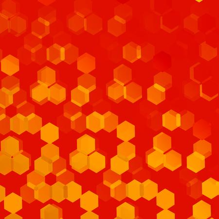 Orange Background for Design Artworks - Abstract Flyer or Cover - Monochrome Stylish Presentation Backdrop - Geometric Backgrounds with Hexagonal Patterns - Web Banner Image - Repeating Tiles - Elegant Warm Art Illustration Foto de archivo
