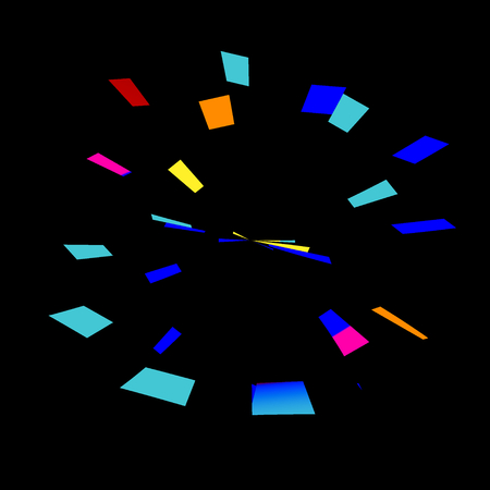 Colorful Abstract Fireworks on Black Background - Stopwatch or Alarm Clock Art Abstraction - Blue Exploding 3d Tiles - Pow Boom or Wham Concept - Big Bang Motion - Creative Geometric Digitally Generated Image - Colored Tiling Art Illustration