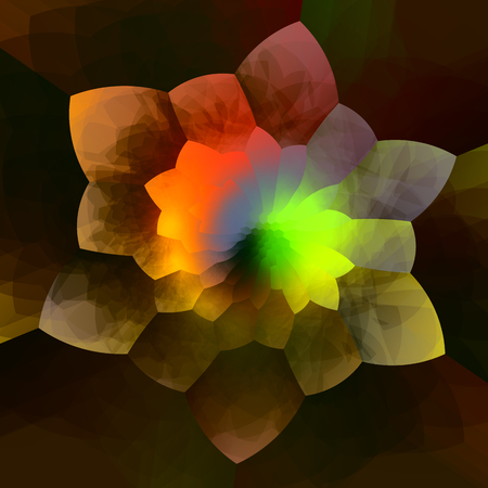 Abstract Colorful Flower Fractal Background - Creative Geometric Art - Artistic Fantasy Image - Ornate Soft Glow - Petal Shape Design - Digital Artwork Graphic - Different Shapes and Colors - Modern Mosaic Effect - Glowing Neon Color