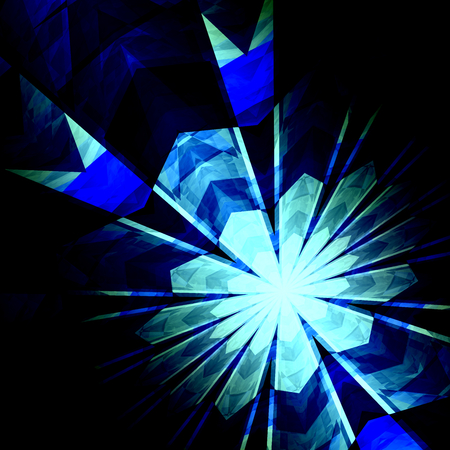 Abstract Futuristic Blue Burst Background - Nuclear Physics - Science Fiction Backgrounds - Nucleus Proton Neutron or Electron Collision - Creative Particle Accelerator Art - Geometric Shapes - Monochrome Modern Illustration - Fireworks Abstraction - Big