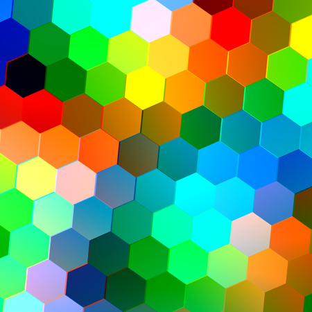 Abstract Seamless Background with Colorful Hexagons - Mosaic Tile Pattern - Geometric Shapes - Repeating Tiles - Green Blue Red Orange White Polygons - Decorative Image - Colored Blocks - Different Colors - Trendy Colours
