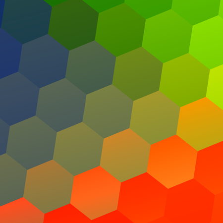 Colorful Abstract Geometric Background with Hexagonal Shapes - Mosaic Tile Pattern - Modern Flat Design Style - Business Presentation - Decorative Ornamental Tiling - Designed Stylized Abstraction - Repeating Hexagon Tiles - Red Blue Green Illustration