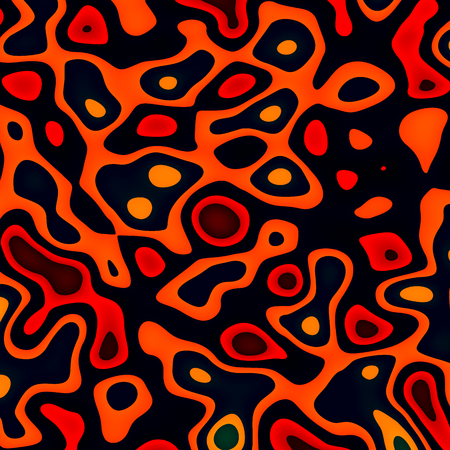 phantasmagoric: Ink Splat with Dark Background - Orange Paint Splashes - Abstract Cells in Mitosis - Molten Lava or Magma - Irregular Shapes Random Spread - Blob Spatter - Grunge Splats - Creative Concept Image - Unique Pattern Design - Art Splatter Stock Photo
