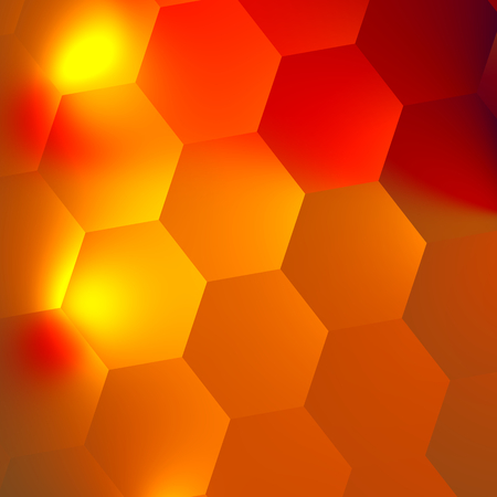Orange Red Abstract Hexagons Background - Bright Light Effect in Dark - Honeycomb Backdrop - Minimal Style Digital Design - Flat Illustration - Geometric Backgrounds with Hexagonal Patterns - Wall or Ceramic Texture - Unique Creative Soft Lighting - Art