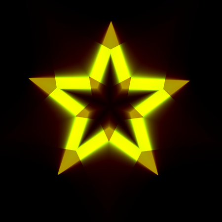 Abstract Black Background with Light Star Shape - Dark Digital Backdrop with Glowing Yellow Symbol - Icon in Colour - Creative Modern Illustration Design - Christmas Decoration