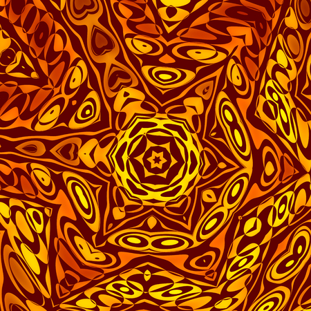 Abstract Background or Wallpaper Pattern - Creative Henna or Mehendi Decoration - Digitally Generated Image - Explosion Blast - Artistic Vintage Style Illustration - Orange Yellow Psychedelic Art - Sepia Tone Star Shape - Unique Concept