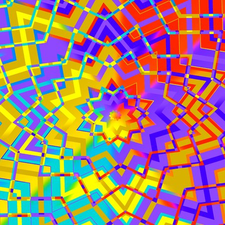 Abstract Colorful Geometric Star Background - Artificial Computer Generated Iterative Lines - Flat Illustration - Yellow Red Purple Digital Backdrop - Mosaic Pattern Image - Colored Creative Kaleidoscope Art - Tibetan Style - Artistic Design