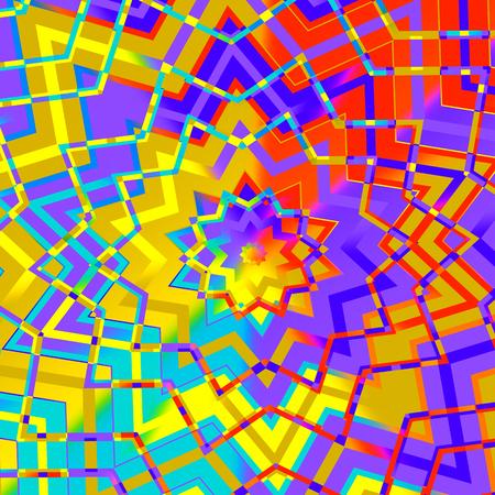 Fondo colorido abstracto de la estrella geométrica - Computer Generated artificiales Líneas iterativos - Ilustración Piso - Telón de fondo amarillo rojo púrpura digital - Modelo de mosaico de imágenes - Colored arte creativo Kaleidoscope - Estilo Tibetano - Diseño Artístico Foto de archivo - 36902518