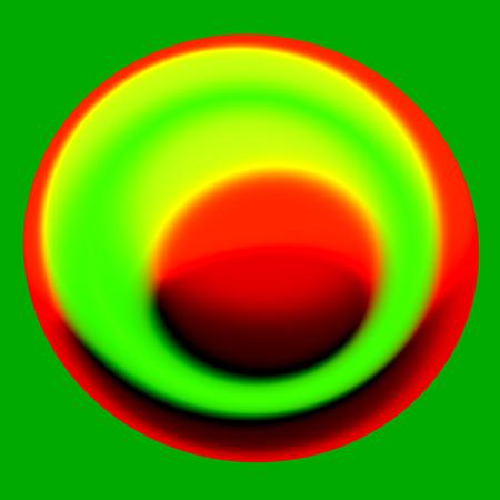 Creativo único Digital Art - Concepto Núcleo - Extracto de Yema de Huevo Ilustración - generada digitalmente 3d imagen - Ronda Roja forma aislada sobre fondo verde - color contenido Huevo - Negrita plana Verdoso extranjero impulso del pájaro - color plano de gotas Splash Foto de archivo - 36902519