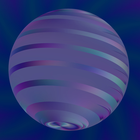 Blue Ball Illustration - Abstract Modern 3d Logo - Semitransparent Light Effects - Geometric Shape Backgrounds - Artworks Background - Creative Digital Art - Digitally Generated Image - Big Pearl or Sphere in Blue - Round Artificial Stripes