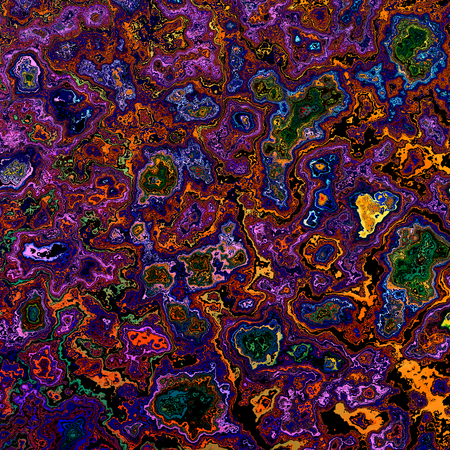 phantasmagoric: Abstract Dynamic Fractal Stain Background - Different Grunge Splatter - Detailed Digital Artwork for Creative Design - Nature Pattern - Rough Dab Texture - Molten Lava Flowing - Colorful Watercolor Splash - Purple Image with Interesting Artistic Effect Stock Photo
