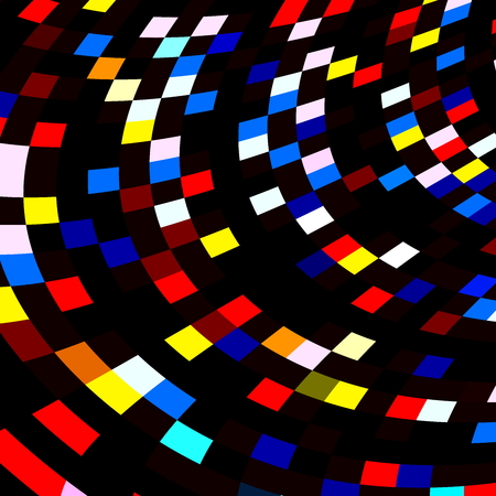 contrast resolution: Colorful Squares Mosaic on Black . Abstract Red Blue Polygonal Tiles.