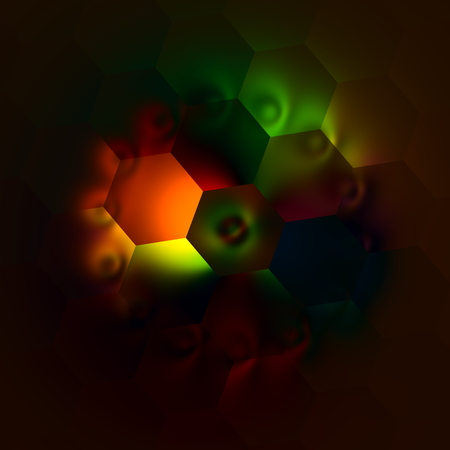 Weird Artistic Colorfully Backlit Hexagons. Abstract Colorful Illustration. Beautiful Light Background. Dark Decorative Mosaic. Creative Multicolored Art Image. Modern Artwork. Red Green Yellow Black Orange Colors. Colored Lights. Unique Surreal Backdrop. Stock Photo