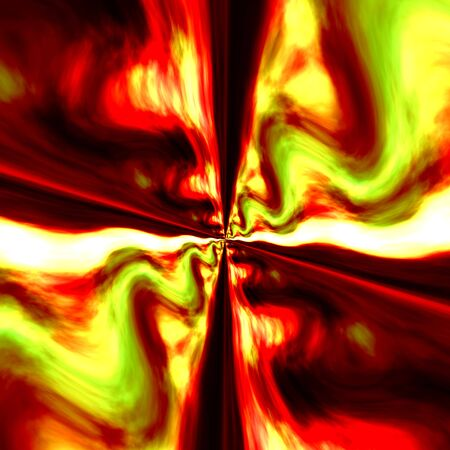 singular: Infinite Digital Fractal. Red Green Colored Fantasy Illustration. Abstract Art Background. Bright Wavy Artistic Image. Creative Graphic Element. Unique Psychedelic Artwork. Symmetrical Decoration. Zoom Effect. Generated Graphics. Stock Photo