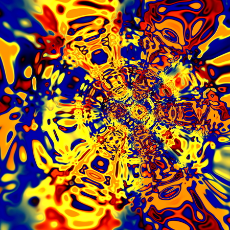 singular: Digital Distortion Artwork. Colorful Red Yellow Blue Illustration. Creative Psychedelic Background. Surreal Artistic Vortex. Abstract Fantasy Fractal. Various Decorative Shapes. Vibrant Funky Backgrounds. Unique Art Decoration. Digitallhy Generated Art.