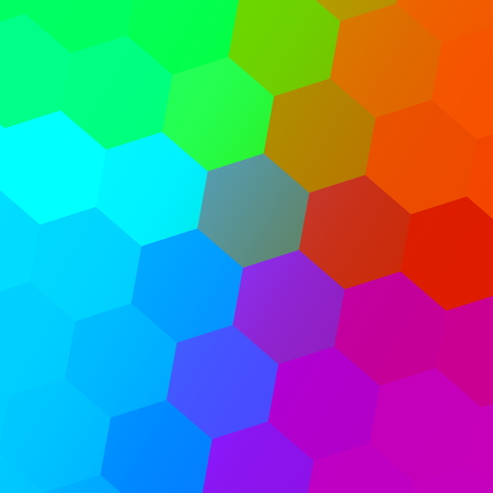 Hexagonal Color Spectrum. Colorful Abstract Background. Simple Geometric Art. Creative Mosaic Pattern. Digital Colored Graphic. Decorative Polygonal Elements. Palette with Blue Red Green Pink Orange Colors. Many Hexagon Shapes. Presentation Backdrop.