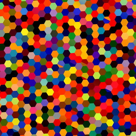 Abstract Colorful Mosaic Hexagons. Geometric Background. Repeating Tiles Pattern. Lots of Red Yellow Green Blue Hexagon Shapes. Unique Multicolored Confetti Illustration. Digital Art Collage. Deco Style Clipart. Digitally Generated Image.