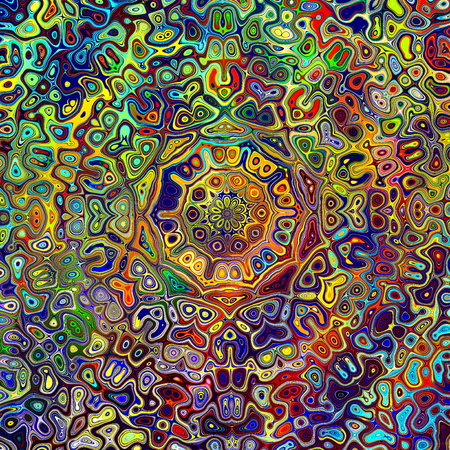 Colorful Psychedelic Mandala Pattern. Unique Creative Abstract Background. Red Green Blue Colors. Artistic Weird Shapes. Digital Fantasy Image. Colored Fractal Decoration. Beautiful Decorative Graphic. Ornate Chaotic Kaleidoscope Artwork. Various Blots. Foto de archivo